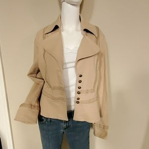 Nine West Tan Embroidered Casual Jacket